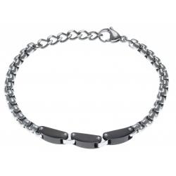 Bracelet acier homme - 2 tons - noir et blanc - 3 composants noirs - 20+3cm