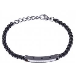 Bracelet acier homme - 2 tons - noir et blanc - 1 composant - 20+3cm