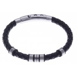 Bracelet acier homme - 2 tons - cuir diam. 6mm - 5 composants - réglable 20-21,5cm