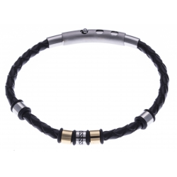 Bracelet acier homme - 2 tons - cuir diam. 4mm - 5 composants - réglable 20-21,5cm