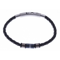 Bracelet acier homme - 2 tons - cuir diam. 4mm - 3 composants - réglable 20-21,5cm