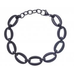 Bracelet acier noir - ovales - 18+3cm