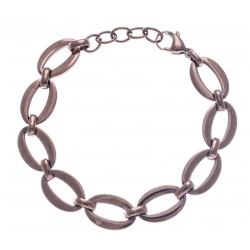 Bracelet acier café - ovales - 18+3cm