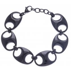 Bracelet acier noir - grain de café - 17+3cm