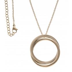 Collier acier doré - 2 ronds - 40+10cm