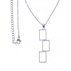 Collier acier rectangles modernes - 40+10cm