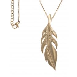 Collier acier doré plume - 40+10cm