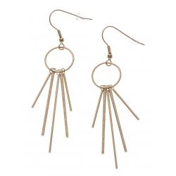 Boucles d'oreille acier doré - batons - hauteur 6cm