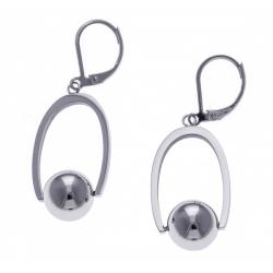 Boucles d'oreille acier boules tournantes