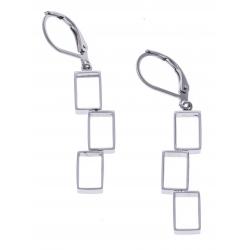 Boucles d'oreilles acier rectangles modernes - hauteur 3cm