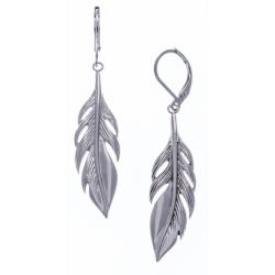 Boucles d'oreille acier plumes - hauteur 4cm