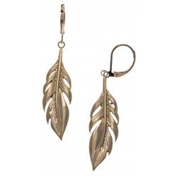 Boucles d'oreille acier doré plumes - hauteur 4cm