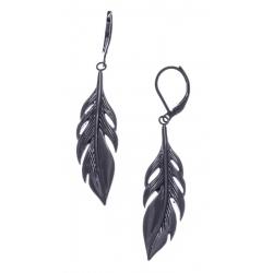 Boucles d'oreille acier noir plumes - hauteur 4cm