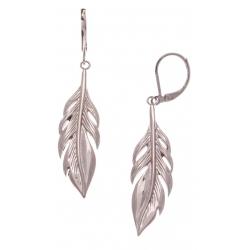 Boucles d'oreille acier rosé plumes - hauteur 4cm