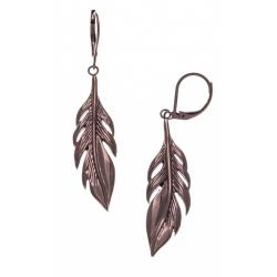 Boucles d'oreille acier café plumes - hauteur 4cm