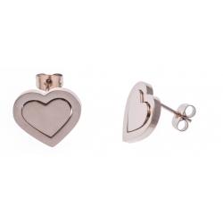 Boucles d'oreille acier rosé cœur - hauteur 1,5cm