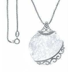 Collier argent rhodié 7,9g - cristal de roche - 45cm