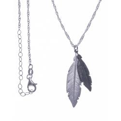 Collier argent rhodié 4g - 2 tons - plumes rhodiée et noire - 40+5cm