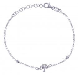 Bracelet argent rhodié 2g-  arbre - 17+3cm