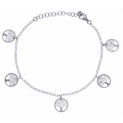 Bracelet argent rhodié 2,6g - 5 arbres de vie pendants - 17+3cm