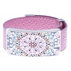 Bracelet acier - nacre - émail - cuir rose - largeur 2cm - longueur 23,5cm