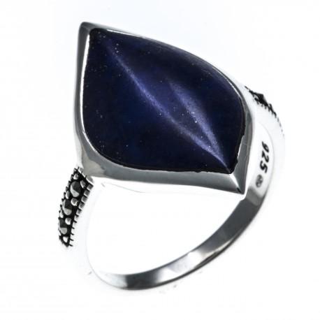 Bague argent rhodié 3g - lapis lazuli - marcassites - T52 à 60