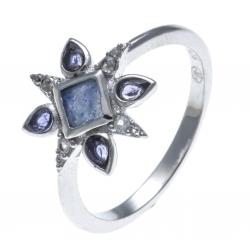 Bague argent rhodié 2,1g - lolite - quartz bleu - zircons - T50 à 60