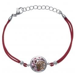 Bracelet acier - nacre - émail - coton rouge - 17+3cm