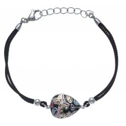 Bracelet acier - nacre - émail - papillon - coton noir - 17+3cm