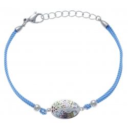 Bracelet acier - nacre - émail - paon - coton bleu clair - 17+3cm