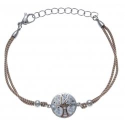 Bracelet acier - nacre - émail - arbre de vie - coton marron clair - 17+3cm