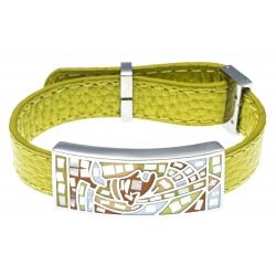 Bracelet en acier - émail - nacre- cuir jaune moutarde - largeur 1cm - longueur