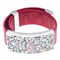 Bracelet acier - émail - nacre - papillon - cuir rouge - largeur 2 cm - longueur