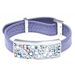 Bracelet en acier - émail - nacre- cuir violet - largeur 1cm - longueur 22cm