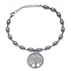 Bracelet acier - arbre de vie - satiné - diamètre 2cm - 17+4cm