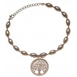 Bracelet acier rosé - arbre de vie - satiné - diamètre 2cm - 17+4cm