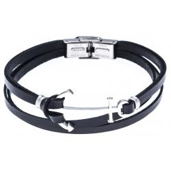 Bracelet acier pour homme - cuir italien noir -  ancre acier - 3 rangs - 21cm