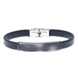 Bracelet acier pour homme - cuir synthétique  - MADE IN ITALY - réglable - 21 cm