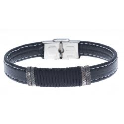 Bracelet acier pour homme - cuir synthétique - cordes - 21cm