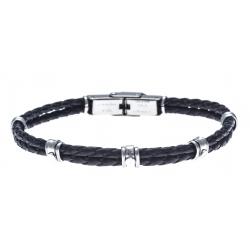 Bracelet acier pour homme - cuir tressé italien noir - 2 rangs - 3 vis - MADE IN