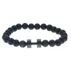 Bracelet acier pour homme - élastique - haltère -  pierre de lave - 21cm