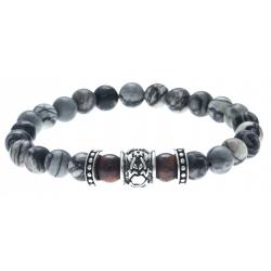 Bracelet acier pour homme - élastique -  jaspe gris mat et rouge