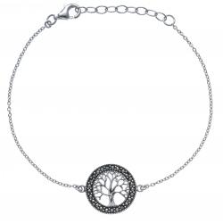 Bracelet argent rhodié 2,8g - arbre de vie - marcassites - diamètre 1,5cm  - 17+