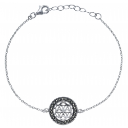 Bracelet argent rhodié 2,6g - fleur de vie - diamètre 1,5cm - 17+3cm