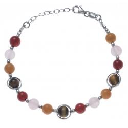 Bracelet argent rhodié 8,2g - aventurine - cornaline - agate rose - œil de tigre