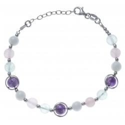 Bracelet argent rhodié 8,4g - fluorite - agate rose et blanche - améthyste - 17+