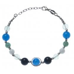Bracelet argent rhodié 9,3g - amazonite - fluorite - agate blanche - agate bleue