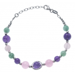 Bracelet argent rhodié 8,9g - amazonite - amethyste -  agate rose - 17+3cm