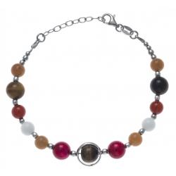 Bracelet argent rhodié 8,2g - aventurine - cornaline - agate blanche - œil de ti