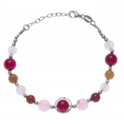 Bracelet argent rhodié 9,1g - agate rose et fushia - cornaline - aventurine oran